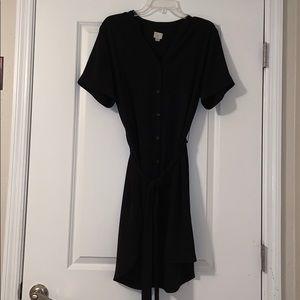 Button Down Shift Dress w/ Tie Belt